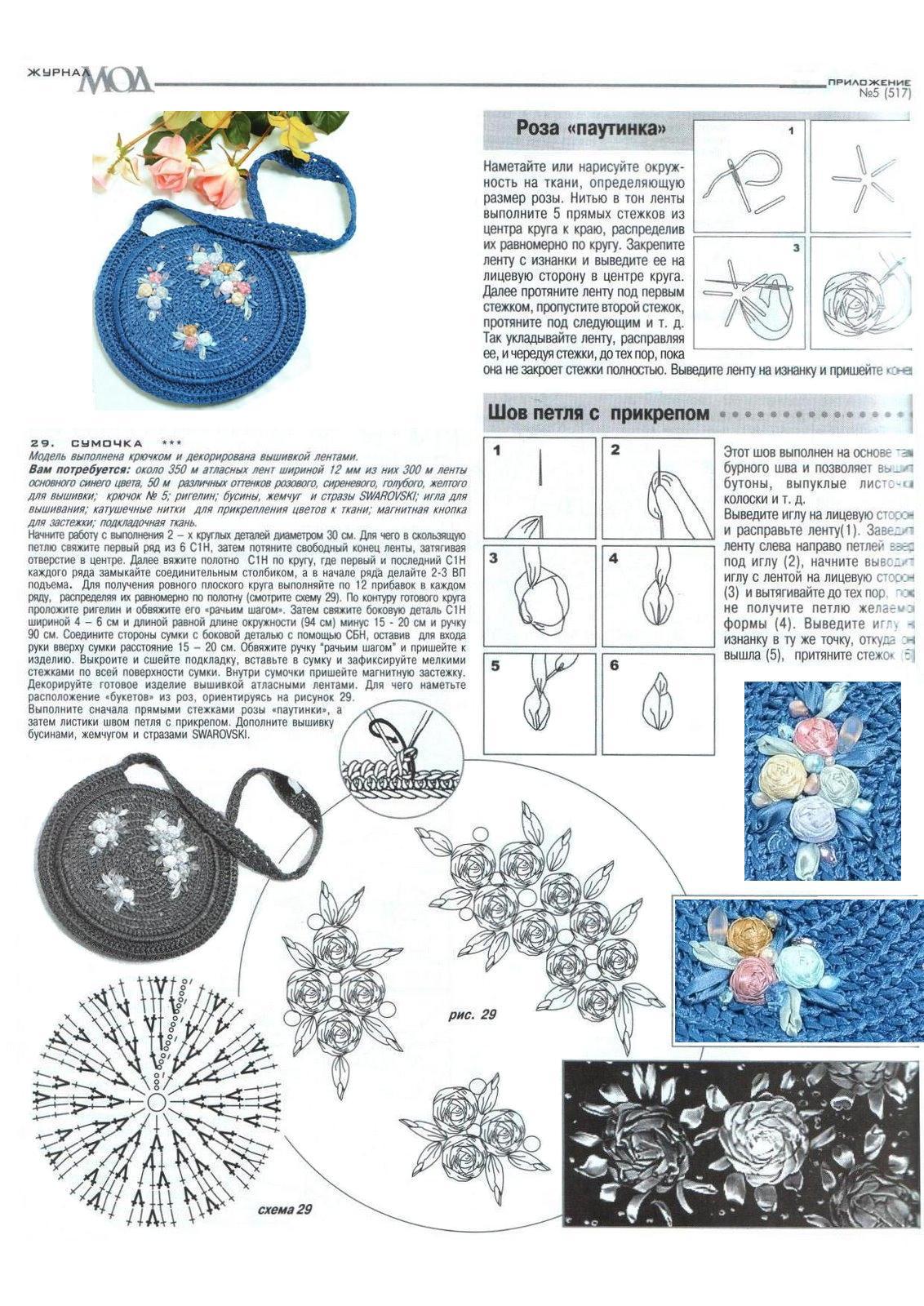 Схема и описание круглой сумки крючком