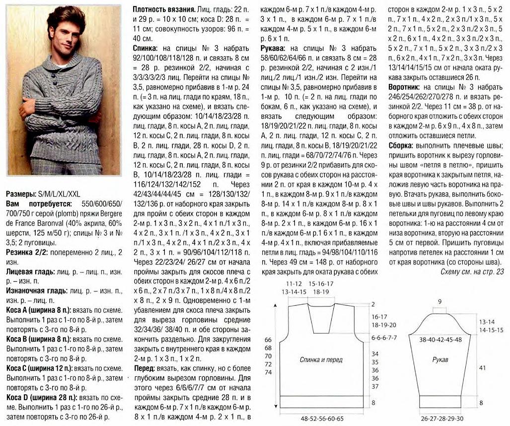 Вязание мужской свитер модели