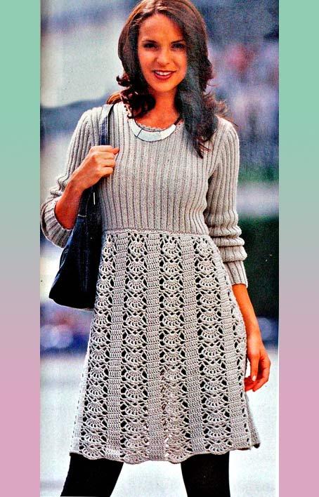 Вязаное платье спицами крючком для женщин