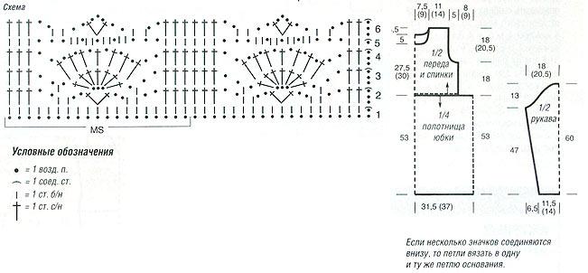 Схема вязания для платья с длинным рукавом 462