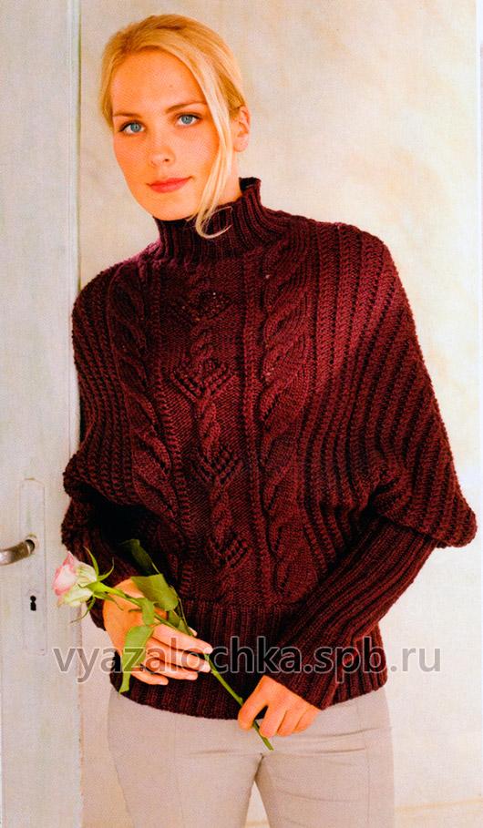Узорчатый пуловер с рукавами летучая мышь