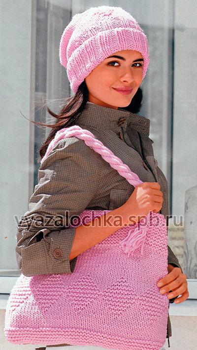 Шапка и сумка спицами