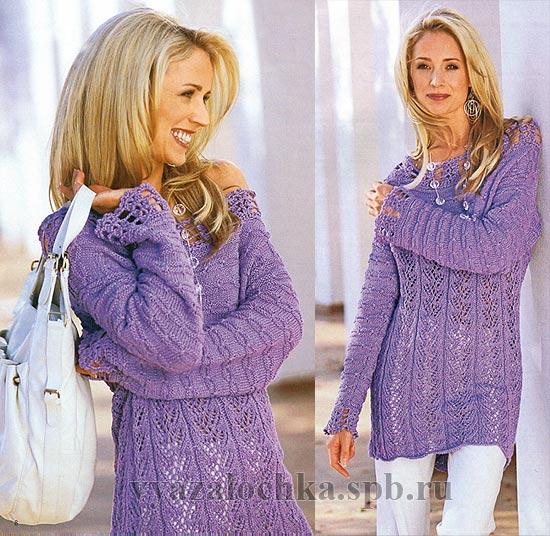 Красивый пуловер -вязание спицами