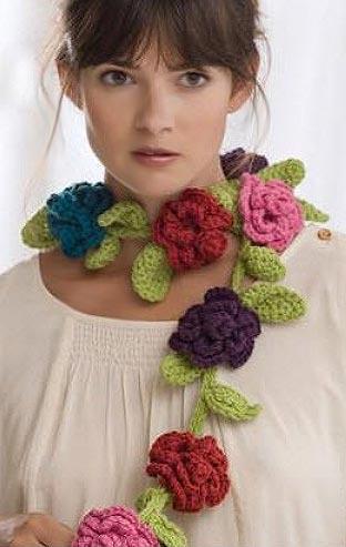 шарф с цветами крючком