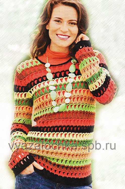пуловер крючком,схема