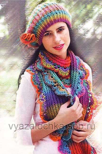 Берет и шарф спицами с ажурной