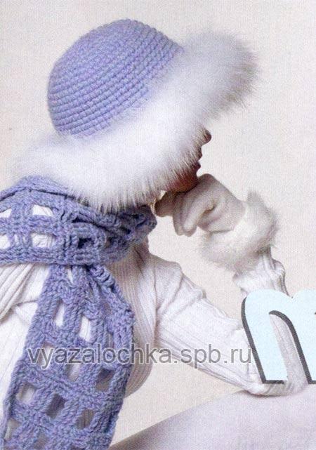 Описание: Зимняя шапка крючком с мехом и шарф.