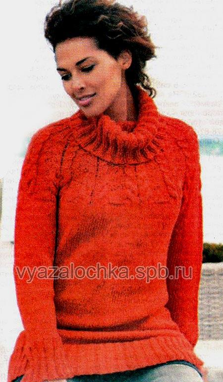 свитер с кокеткой из кос