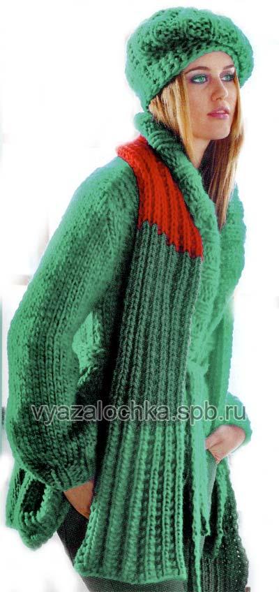 зимний берет и шарф спицами