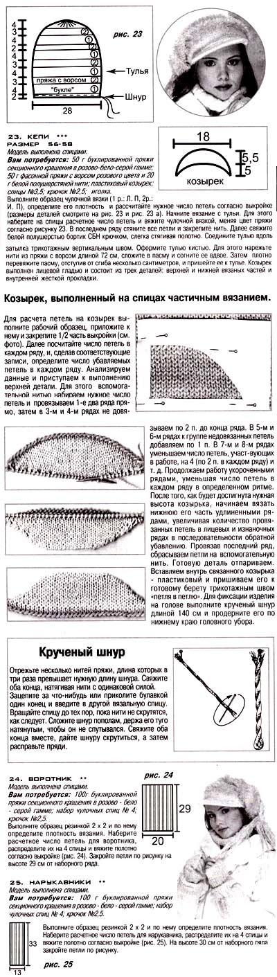 шапка митенки спицами схема