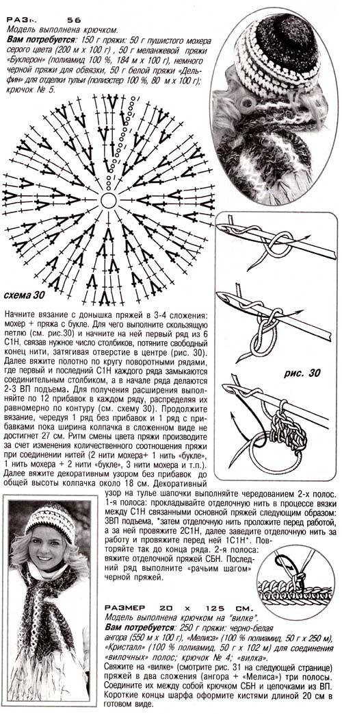 шапка крючком шарф на вилке