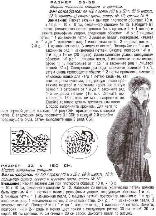 шарф и берет спицами