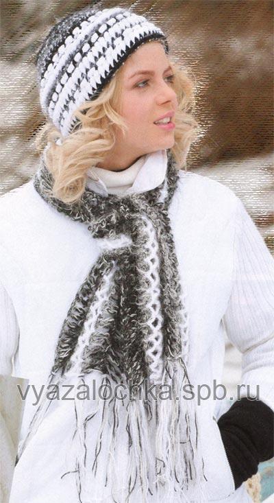 Шапка крючком и шарф,
