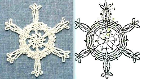 вязаные снежинки крючком схемы3
