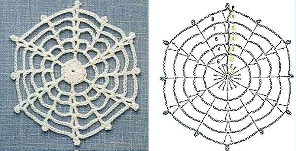 вязаные снежинки крючком схемы6