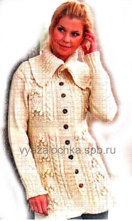женское вязаное пальто спицами