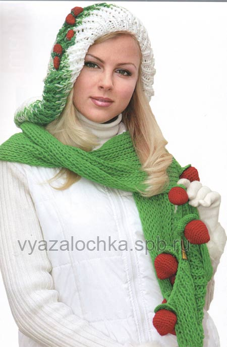 берет блином и шарф