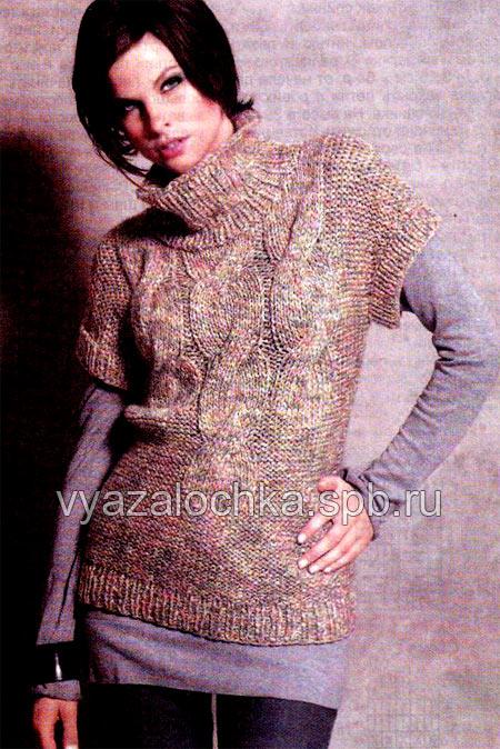 оригинальная модель пуловера спицами