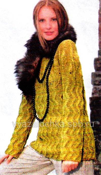 прямой пуловер на спицах
