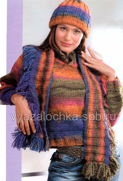 шапка шарф и пуловер спицами