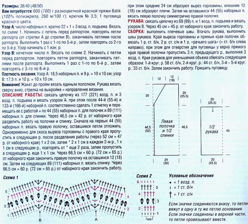 узор зигзаг крючком схема