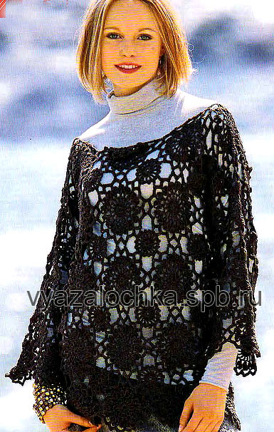 Ажурный пуловер крючком из
