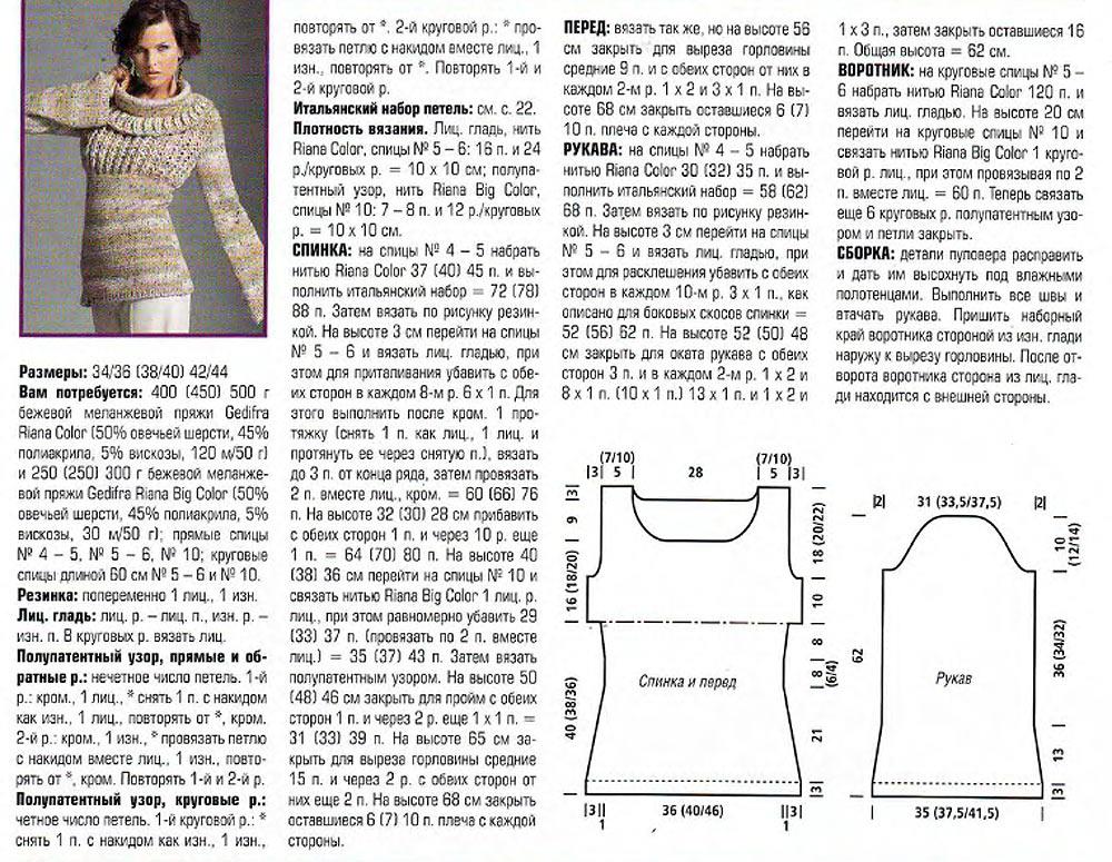 вязание женского джемпера описание