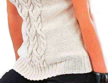 Фрагмент пуловера спицами 1b