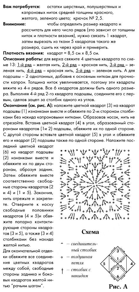 Описание вязания тапочек крючком
