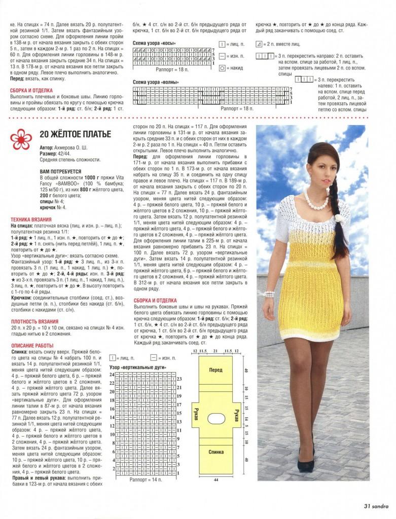 Описание вязания летнего платья спицами