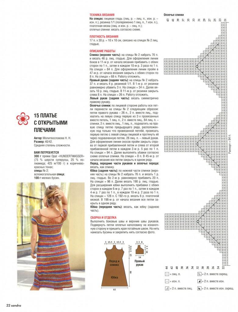 Описание вязания платья спицами с открытыми плечами