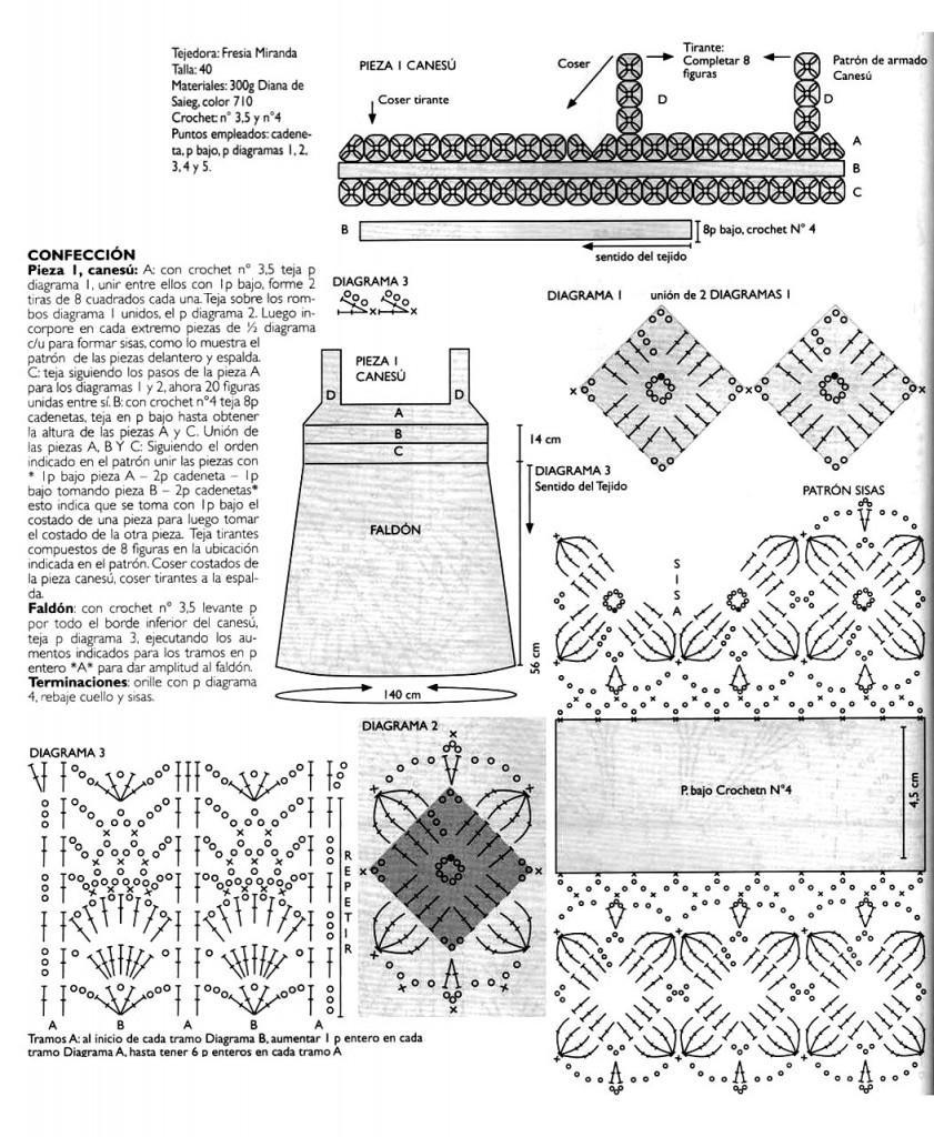 Схемы вязания платья сарафана крючком
