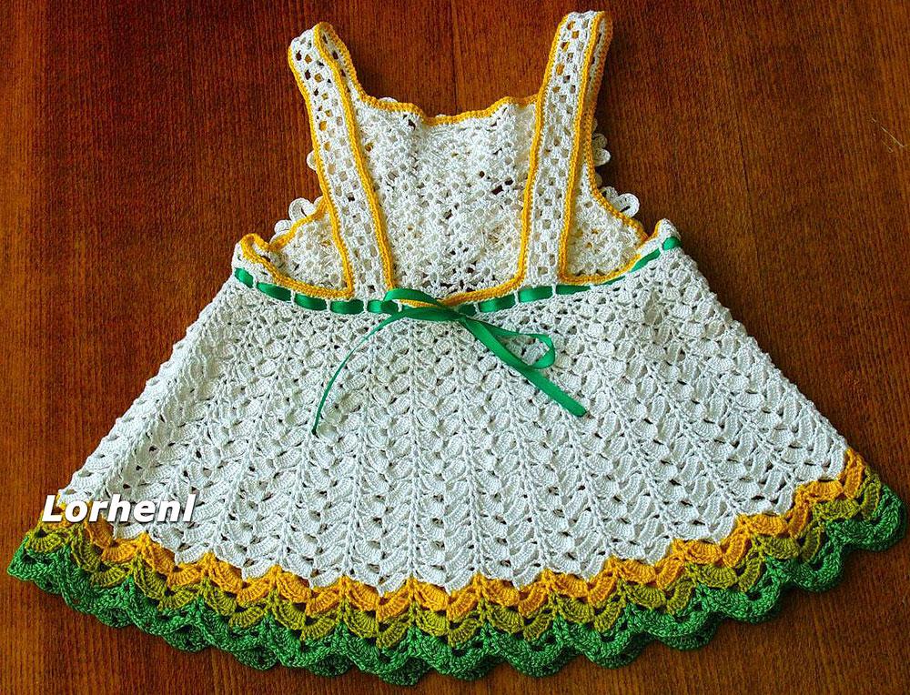Вязание спицами. Меланжевый сарафан на бретелях с рюшами, для девочки 5-6 лет