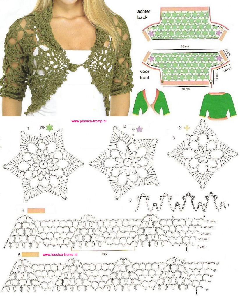 Схема вязания болеро - мотивы