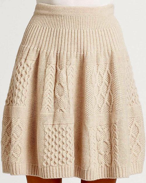 Схемы узоров вязанных юбок спицами