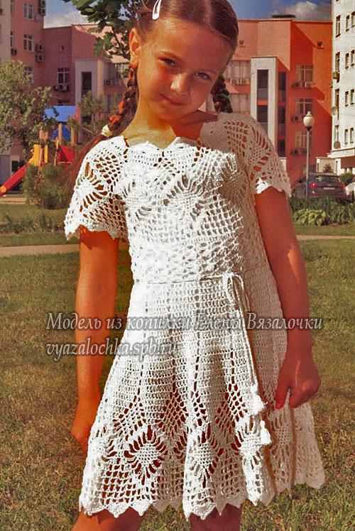 Белое платье крючком для девочки на лето