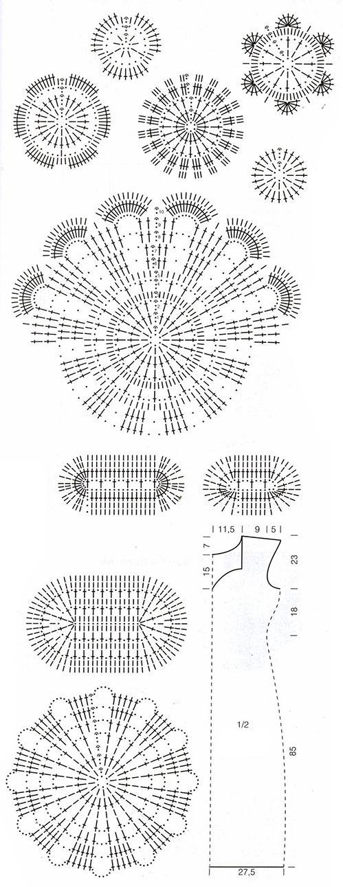 Схема вязания крючком кружев для платья