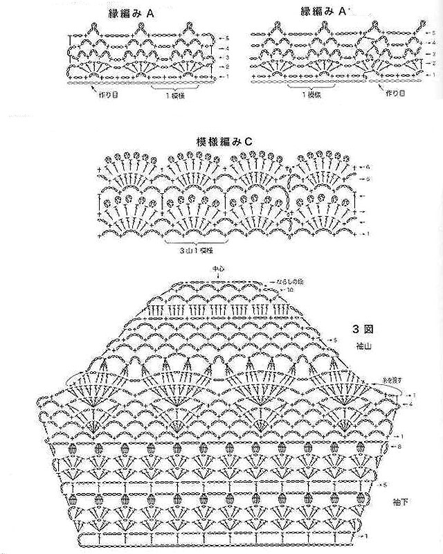 Схема вязания узора туники крючком