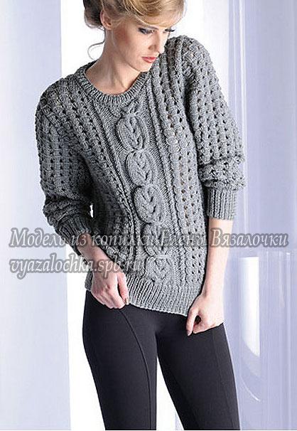ТЕплый джемпер пуловер спицами