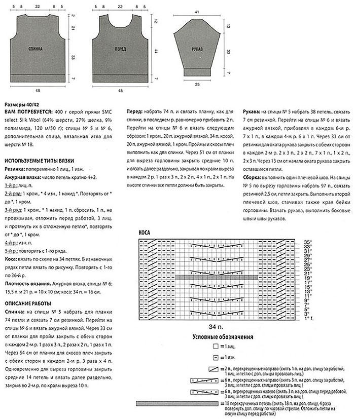Схемы и описание вязания джемпера спицами