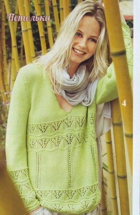 Стильный пуловер спицами с V образным вырезом