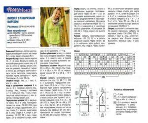 Стильный пуловер спицами с V образным вырезом - описание и схема увеличивается!