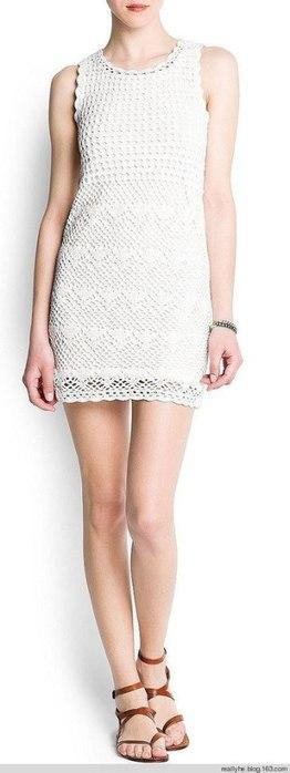 Ажурное белое платье крючком в полный рост